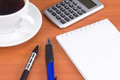 Coffee and office accessories Stock Photos