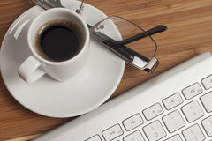 Coffee on the office desk Royalty Free Stock Photo