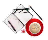 Coffee and office supplies Royalty Free Stock Image