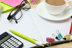 Coffee and office supplies Royalty Free Stock Photo