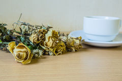 Coffee old dried roses retro Royalty Free Stock Photo
