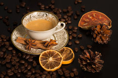 Coffee in old cup with winter decoration Royalty Free Stock Photo