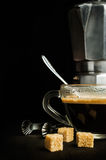 Coffee with an old metal coffee maker Royalty Free Stock Image