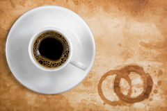 Coffee on old paper with round coffee stains Royalty Free Stock Image