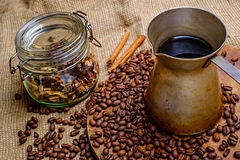 Coffee in old turk Royalty Free Stock Photos