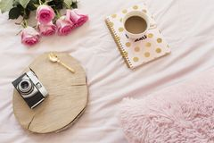 Coffee, old vintage camera in bed on pink sheets. Roses and notebooks around. Freelance fashion home femininity workspace in flat. Lay style stock photo