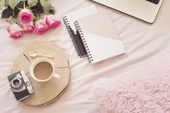 Coffee, old vintage camera in bed on pink sheets. Roses, notebooks and laptop around. Freelance fashion home femininity workspace. In flat lay style royalty free stock photo