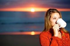 Coffee On The Beach Stock Photos