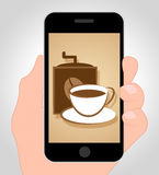 Coffee Online Shows Mobile Phone And Caffeine Royalty Free Stock Photography
