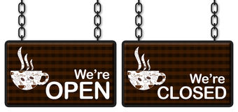 Coffee Open Closed Stock Images
