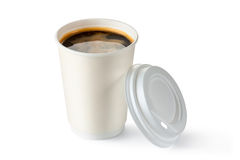 Coffee in opened disposable cup. Standing on a white Royalty Free Stock Photography