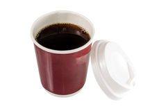 Coffee in opened disposable cup. Isolated on a white Stock Photography