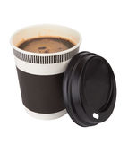 Coffee. Opened take-out coffee isolated on a white background Stock Photo