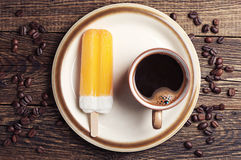 Coffee and orange ice cream Stock Photo