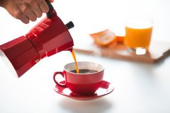 Coffee and orange juice stock image