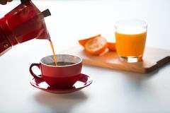 Coffee and orange juice Royalty Free Stock Photography