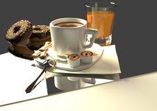 Coffee and orange juice. Coffee with donuts and a glass orange juice, 3D illustration, raster illustration, over a grey background Royalty Free Stock Photos