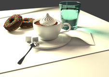 Coffee and orange juice. Coffee with donuts and a glass orange juice, 3D illustration, raster illustration, over a grey background Royalty Free Stock Image