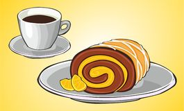 Coffee and orange roll Royalty Free Stock Photography