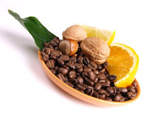 Coffee, oranges, lemon, Stock Photography