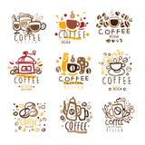 Coffee Original Colorful Graphic Design Template Logo Series,Hand Drawn Vector Stencils Stock Image