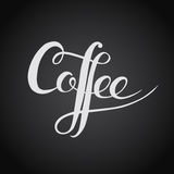 Coffee. Original custom hand lettering. Handmade calligraphy, ve Stock Photos