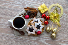 Coffee ornament and star cookies Stock Image
