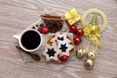 Coffee ornament and star cookies Royalty Free Stock Photos