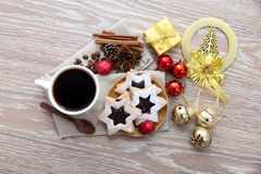 Coffee ornament and star cookies Royalty Free Stock Images