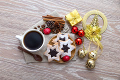 Coffee ornament and star cookies Royalty Free Stock Photography