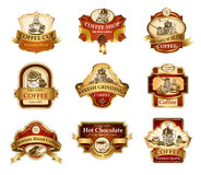 Coffee ornamental labels set. Coffee design templates ornamental labels set. Easy to scale and edit. All pieces are separated Stock Photos