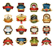 Coffee ornamental labels set. Royalty Free Stock Image