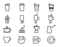 Coffee Outline Elements. Coffee and cocktails outline elements and symbol line icon isolated on white background. Can be used as icon, logo, elements in Royalty Free Illustration
