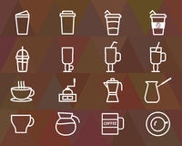 Coffee outline elements and symbol line icon. Isolated on polygonal triangle background. Can be used as icon, logo, elements in infographics on web and mobile Vector Illustration