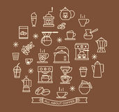 Coffee outline icons set Royalty Free Stock Photos
