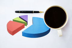 Coffee over financial graph documents Royalty Free Stock Photography