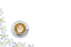 Coffee over Frangipani flower beautiful composition on white as Royalty Free Stock Photos