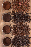 Coffee. Overhead view of four varieties of fresh roasted coffee Beans royalty free stock photography