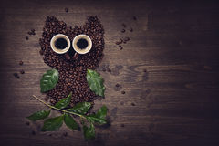 Coffee owl. From beens, leaves and cups Stock Photo