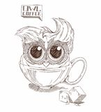 Coffee owl Royalty Free Stock Images