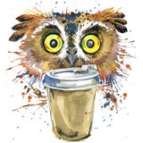 Coffee and owl T-shirt graphics. coffee and owl illustration with splash watercolor textured background. unusual illustration vector illustration