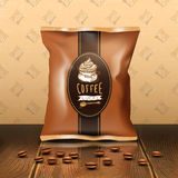 Coffee Pack Design. With beans wooden table and wallpaper realistic vector illustration Royalty Free Stock Photos
