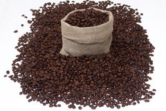 Coffee pack1.jpg. Bag and coffee beans Stock Images