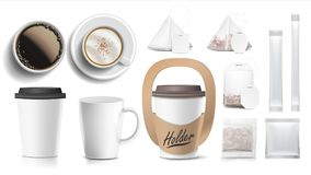 Coffee Packaging Design Vector. Cups Mock Up. White Coffee Mug. Ceramic And Paper, Plastic Cup. Top, Side View. Holder vector illustration