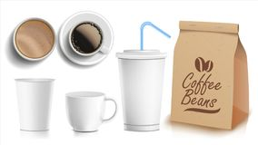 Coffee Packaging Design Vector. Cups Mock Up. White Coffee Mug. Ceramic And Paper, Plastic Cup. Top, Side View. Blank. Coffee Packaging Template Design Vector Royalty Free Stock Photo