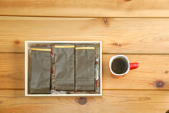 Coffee packaging stock images