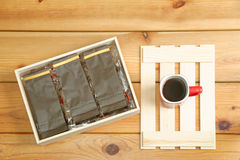 Coffee packaging royalty free stock photo