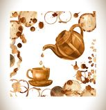 Coffee paint cup, splashes and harts  on background. Stock Image