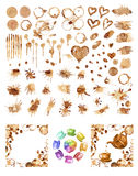 Coffee paint stains, splashes and harts set Stock Image