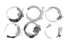 Coffee paint stains, splashes set Stock Photography